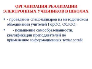 ОРГАНИЗАЦИЯ РЕАЛИЗАЦИИ ЭЛЕКТРОННЫХ УЧЕБНИКОВ В ШКОЛАХ - проведение спецсемина