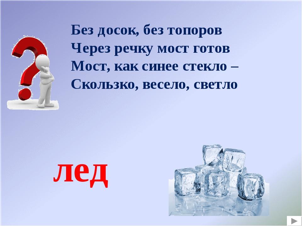 Без досок, без топоров Через речку мост готов Мост, как синее стекло – Скольз...