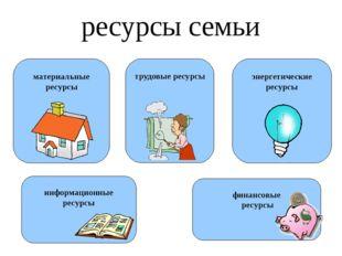 ресурсы семьи материальные ресурсы трудовые ресурсы энергетические ресурсы фи