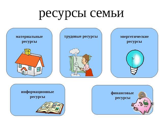 ресурсы семьи материальные ресурсы трудовые ресурсы энергетические ресурсы фи...