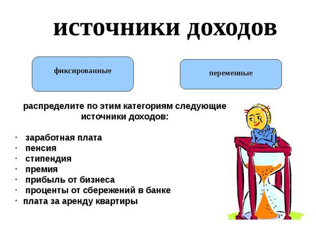 источники доходов фиксированные переменные распределите по этим категориям сл...