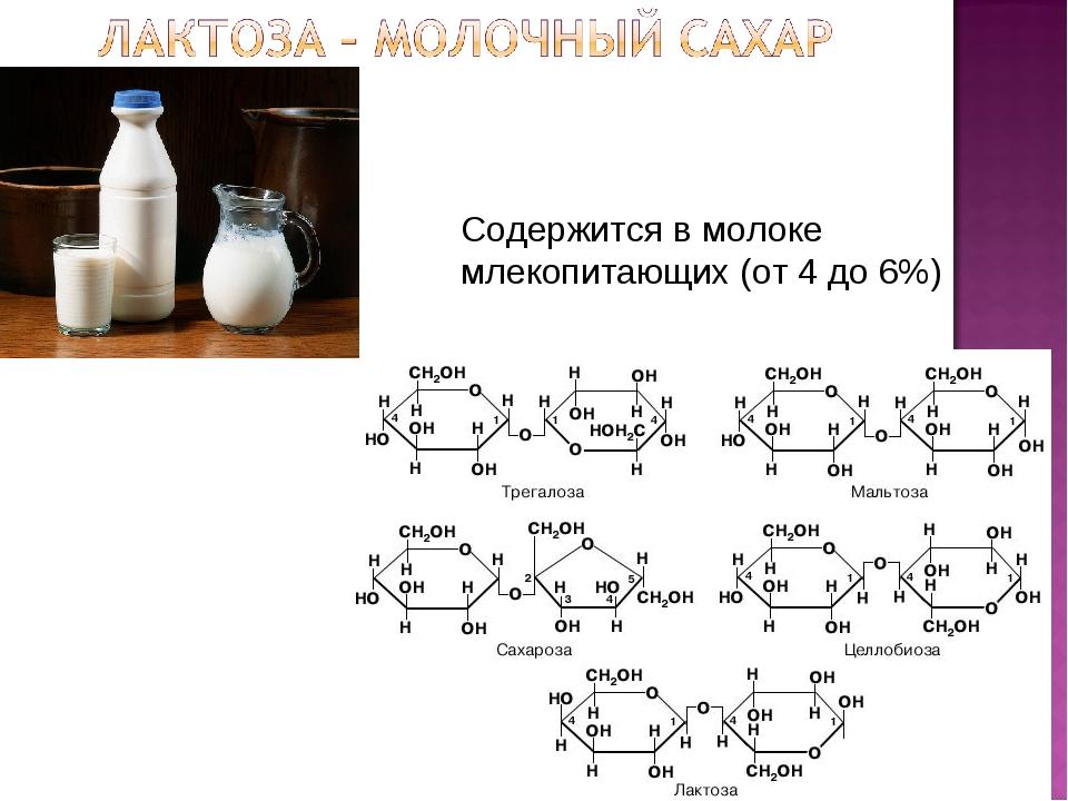 Содержится в молоке млекопитающих (от 4 до 6%)
