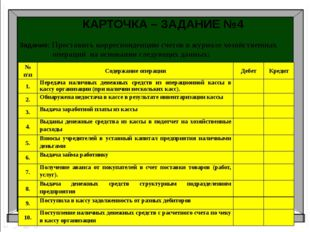 Аудит Бухгалтерский учет Налоги и налогоболжение КАРТОЧКА – ЗАДАНИЕ №4 Задани