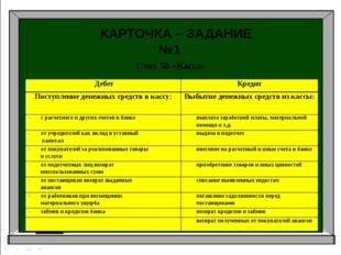 Аудит Бухгалтерский учет Налоги и налогоболжение КАРТОЧКА – ЗАДАНИЕ №1 Счет 5