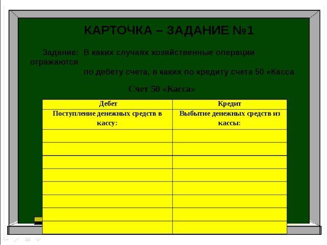 Аудит Бухгалтерский учет Налоги и налогоболжение КАРТОЧКА – ЗАДАНИЕ №1 Задани...