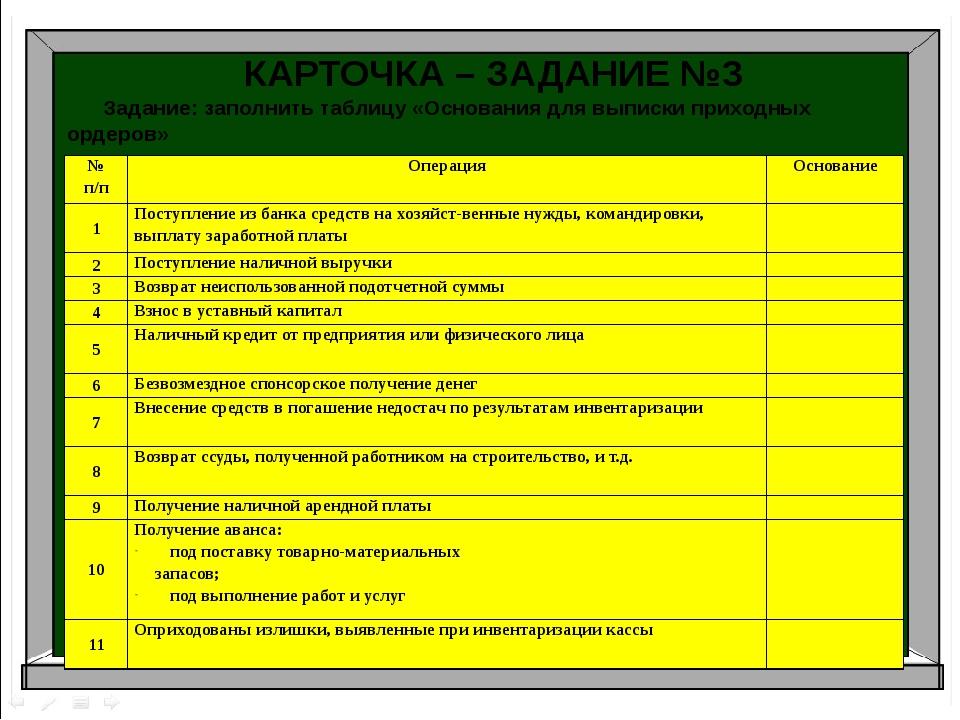 Аудит Бухгалтерский учет Налоги и налогоболжение КАРТОЧКА – ЗАДАНИЕ №3 Задани...