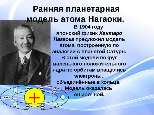 В 1904 году японский физик Хантаро Нагаока предложил модель атома, построенну...