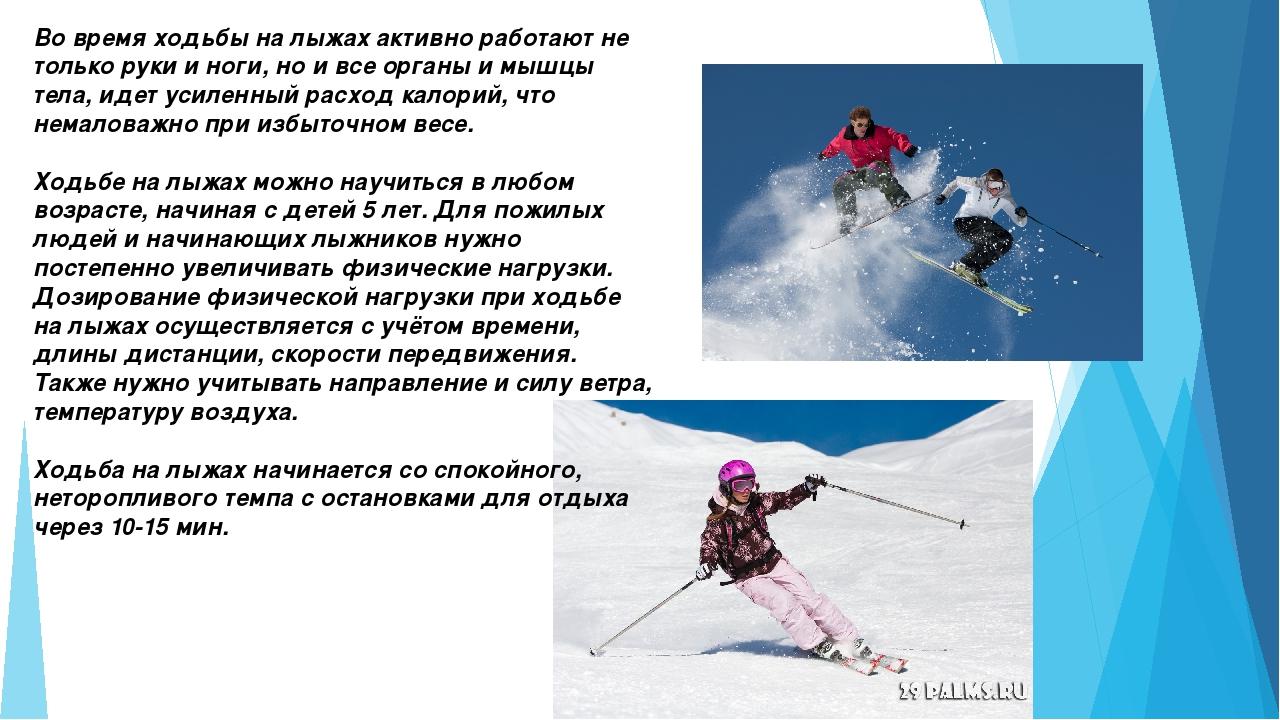 Во время ходьбы на лыжах активно работают не только руки и ноги, но и все орг...