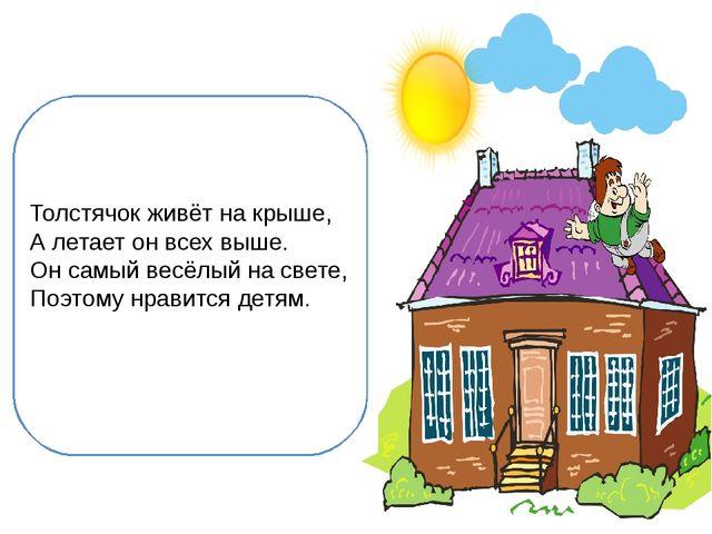 Толстячок живёт на крыше, А летает он всех выше. Он самый весёлый на свете,...