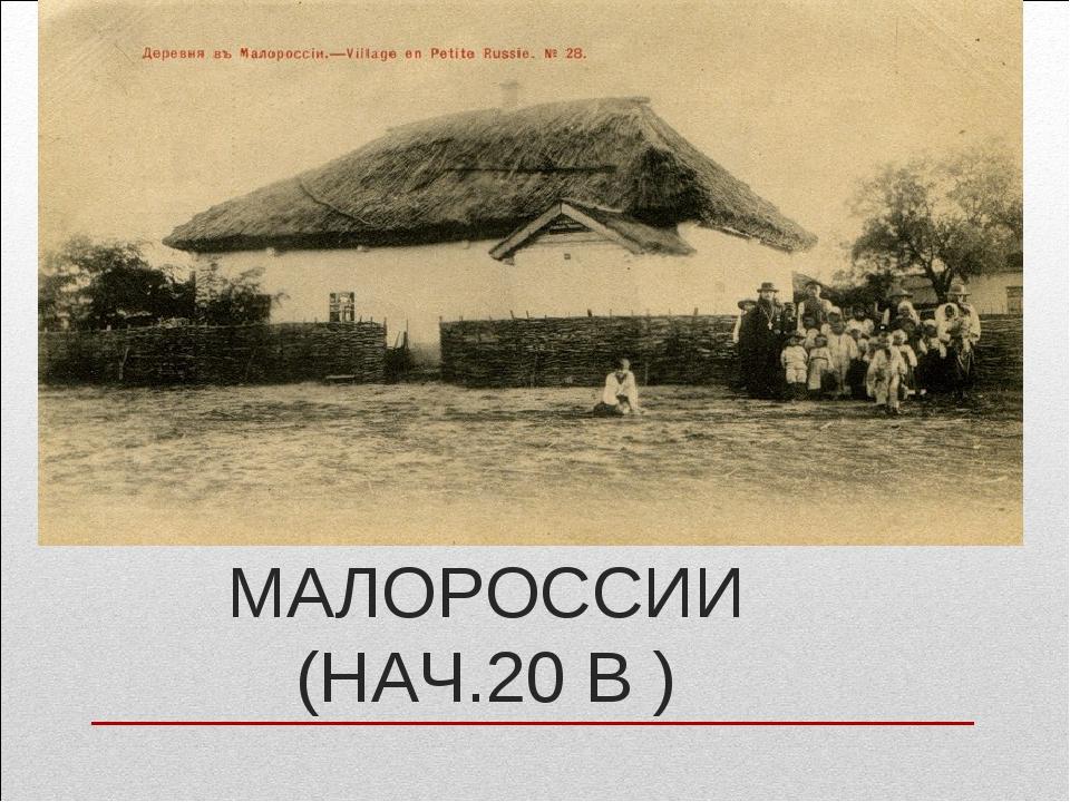 ДЕРЕВНЯ В МАЛОРОССИИ (НАЧ.20 В )
