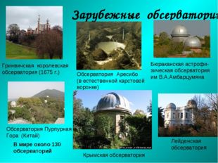 Зарубежные обсерватории Гринвичская королевская обсерватория (1675 г.) Обсерв