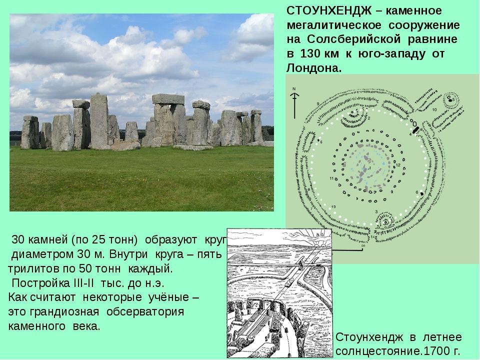 СТОУНХЕНДЖ – каменное мегалитическое сооружение на Солсберийской равнине в 13...