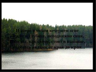 И озеро в тихом вечернем огне Лежит в глубине, неподвижно сияя, И сосны, как