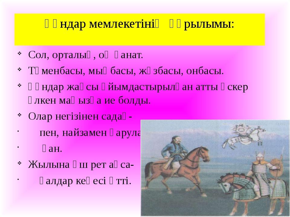 Ғұндар мемлекетінің құрылымы: Сол, орталық, оң қанат. Түменбасы, мыңбасы, жүз...