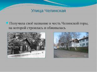 Улица Челинская Получила своё название в честь Челинской горы, на которой стр