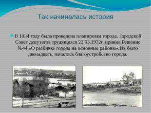 Так начиналась история В 1934 году была проведена планировка города. Городско