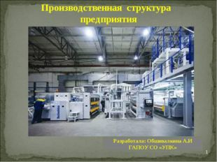 * Производственная структура предприятия Разработала: Обшивалкина А.И ГАПОУ С