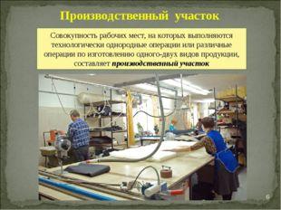 * Производственный участок Совокупность рабочих мест, на которых выполняются