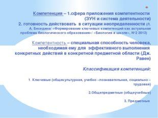 Компетенция – 1.сфера приложения компетентности (ЗУН и система деятельности)
