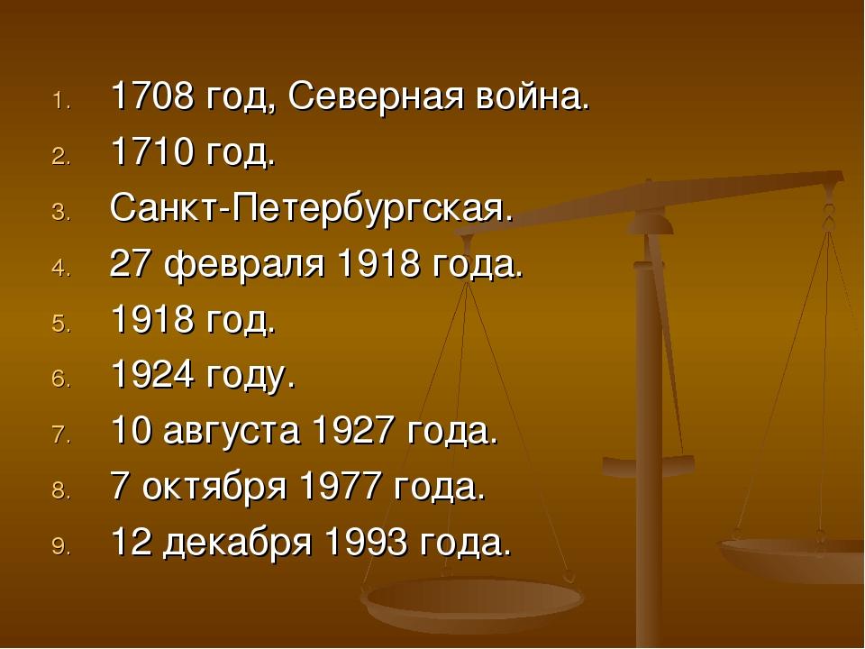 1708 год, Северная война. 1710 год. Санкт-Петербургская. 27 февраля 1918 года...