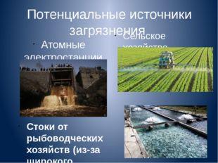 Потенциальные источники загрязнения Атомные электростанции (неочищенные сточн