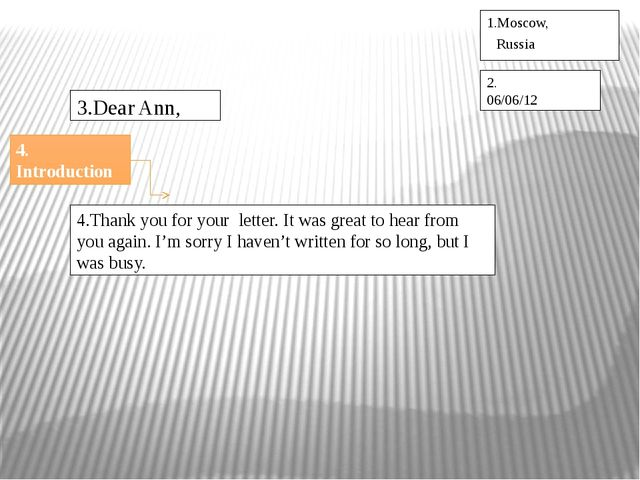 1.Moscow, Russia 2. 06/06/12 3.Dear Ann, 4.Thank you for your letter. It was...