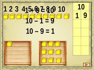 1 2 3 4 5 6 7 8 9 10 10 1 9 2 8 3 7 2 + 7 = 10 10 – 7 = 3 10 – 3 = 7