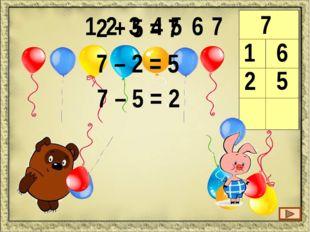 1 2 3 4 5 6 7 8 8 1 7 1 + 7 = 8 8 – 1 = 7 8 – 7 = 1 8