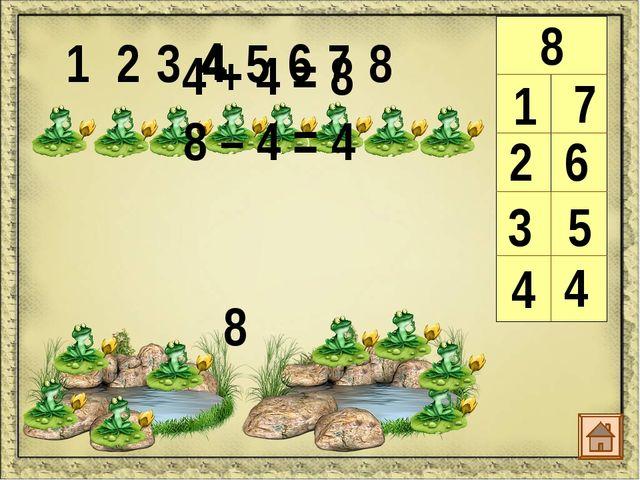 1 2 3 4 5 6 7 8 9 9 1 8 2 7 2 + 7 = 9 9 – 2 = 7 9 – 7 = 2