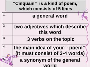 """""""Cinquain"""" is a kind of poem, which consists of 5 lines 1. a general word 2."""
