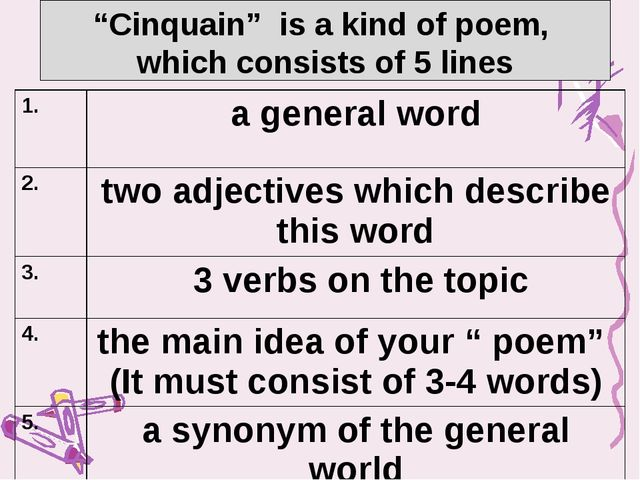 """""""Cinquain"""" is a kind of poem, which consists of 5 lines 1. a general word 2...."""