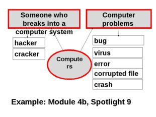 bug Computer problems Someone who breaks into a computer system hacker cracke
