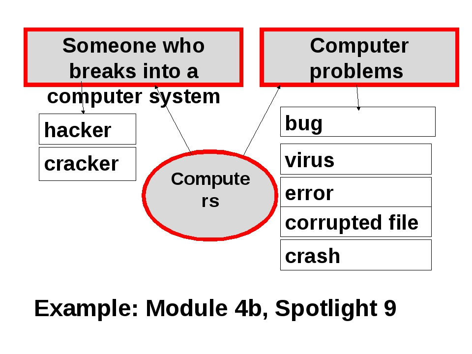 bug Computer problems Someone who breaks into a computer system hacker cracke...
