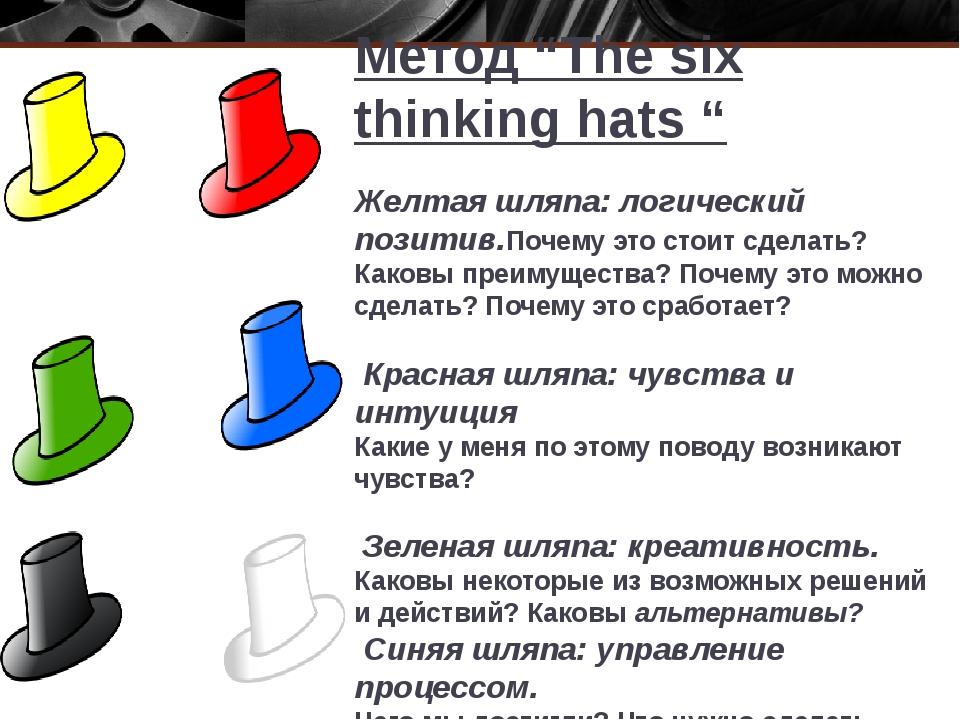 """Метод """"The six thinking hats """" Желтая шляпа: логический позитив.Почему это ст..."""