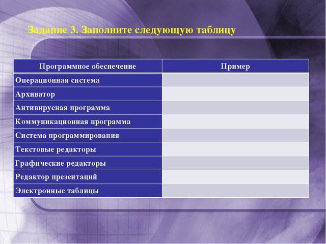 Задание 3. Заполните следующую таблицу  Программное обеспечениеПример Опер...