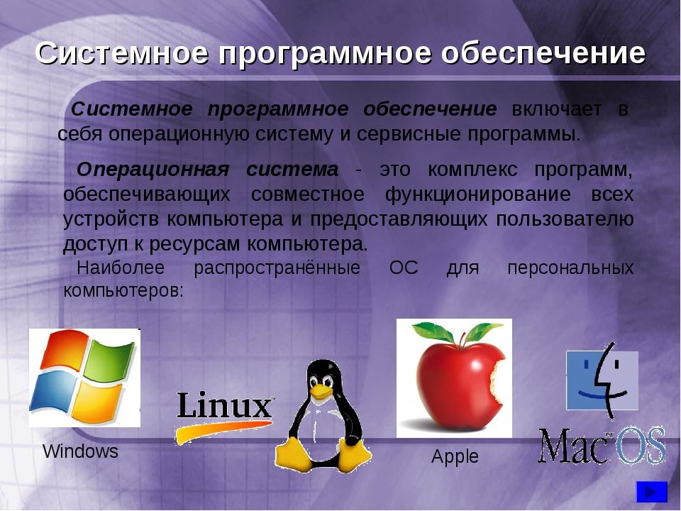 Системное программное обеспечение Системное программное обеспечение включает...