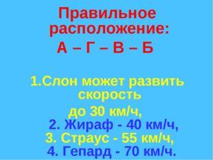 Правильное расположение: А – Г – В – Б Слон может развить скорость до 30 км/ч