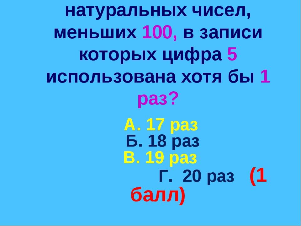 3. Сколько существует натуральных чисел, меньших 100, в записи которых цифра...