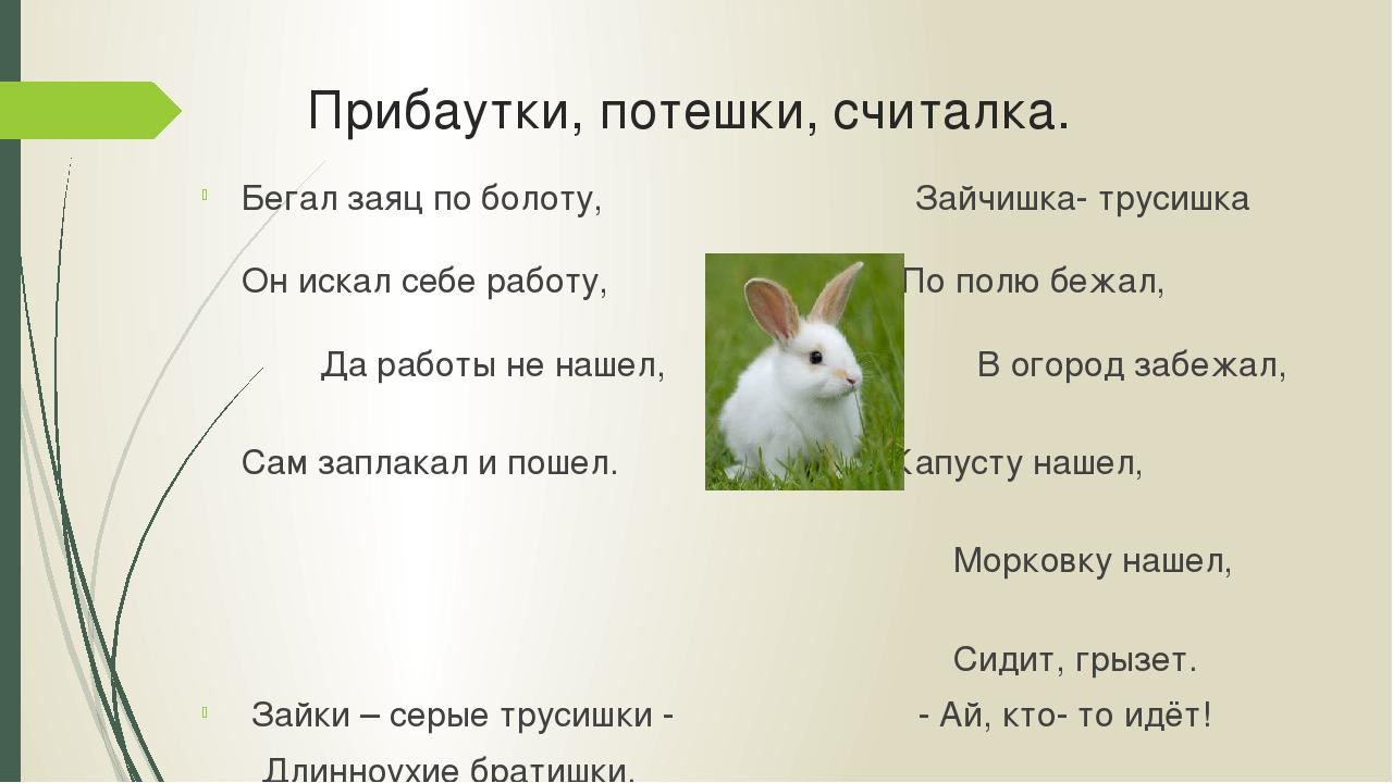 Прибаутки, потешки, считалка. Бегал заяц по болоту, Зайчишка- трусишка Он иск...