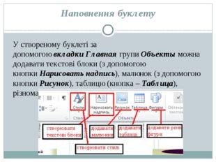 Наповнення буклету У створеному буклеті за допомогоювкладкиГлавнаягрупиОб