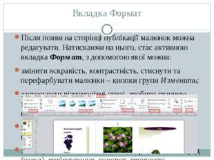 Вкладка Формат Після появи на сторінці публікації малюнок можна редагувати. Н