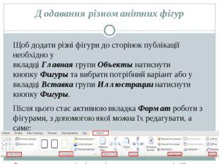Додавання різноманітних фігур Щоб додати різні фігури до сторінок публікації