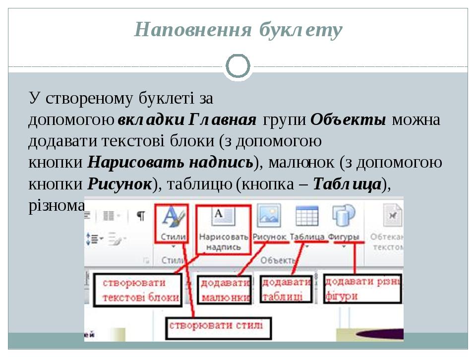 Наповнення буклету У створеному буклеті за допомогоювкладкиГлавнаягрупиОб...