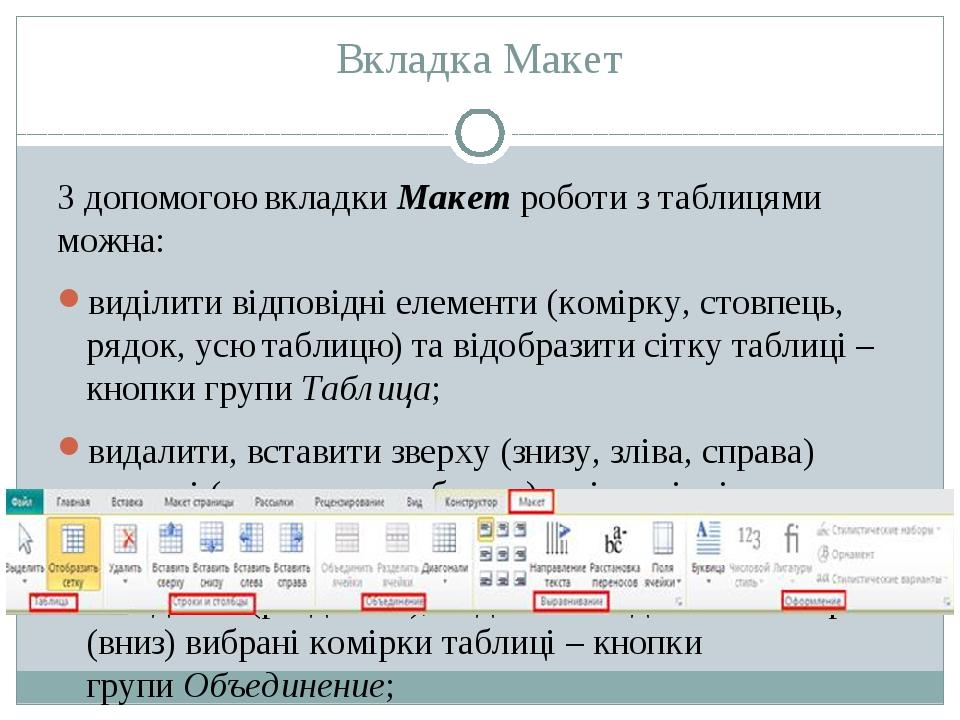 Вкладка Макет З допомогою вкладкиМакетроботи з таблицями можна: виділити ві...