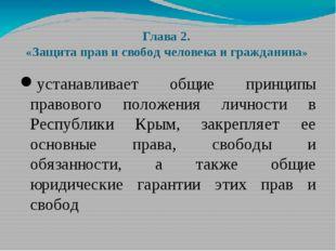 Глава 2. «Защита прав и свобод человека и гражданина» устанавливает общие при