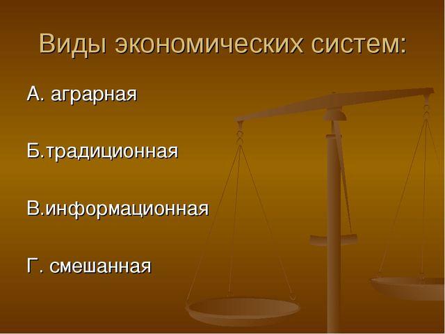 Виды экономических систем: А. аграрная Б.традиционная В.информационная Г. сме...