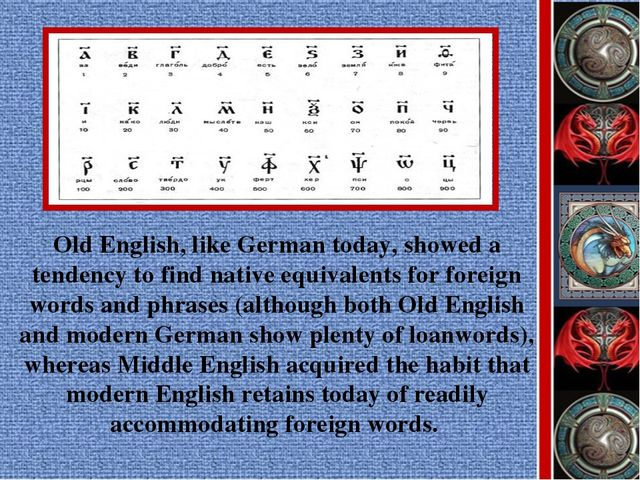 Old English, like German today, showed a tendency to find native equivalents...