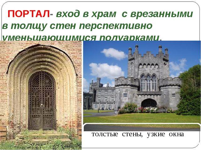 ПОРТАЛ- вход в храм с врезанными в толщу стен перспективно уменьшающимися п...