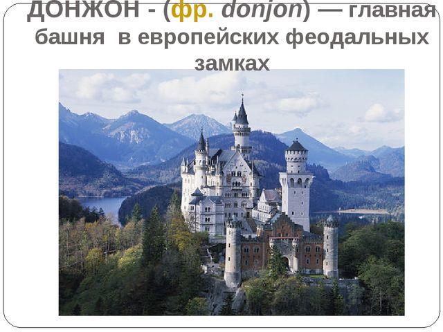 ДОНЖОН - (фр. donjon) — главная башня в европейских феодальных замках