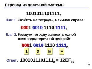 * Перевод из двоичной системы 10010111011112 Шаг 1. Разбить на тетрады, начин